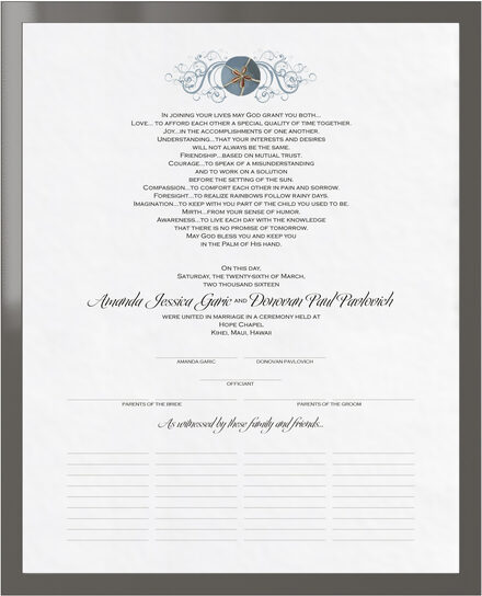 Photograph of Blue Sand Dollar Wedding Certificates