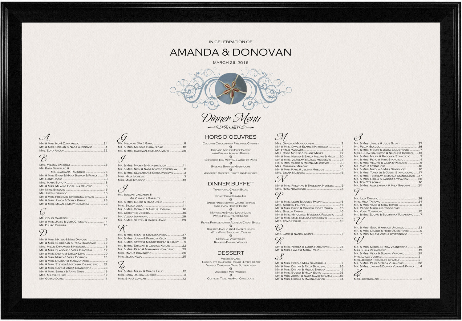 Photograph of Blue Sand Dollar Seating Charts