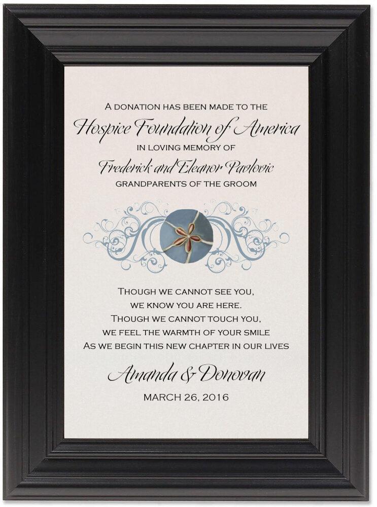 Framed Photograph of Blue Sand Dollar Donation Cards