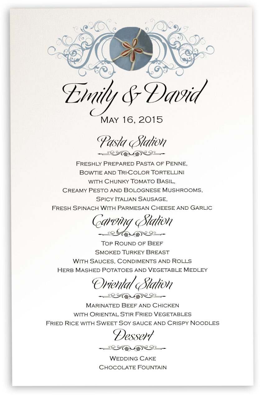 Photograph of Blue Sand Dollar Wedding Menus