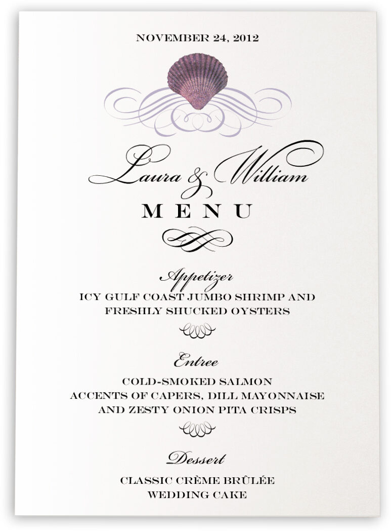 Photograph of Seashell Scallop Swirl Wedding Menus