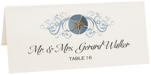 Photograph of Tented Blue Sand Dollar Place Cards
