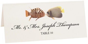 Photograph of Tented Kissing Fish Place Cards