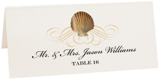 Photograph of Tented Seashell Flourish 03 Place Cards