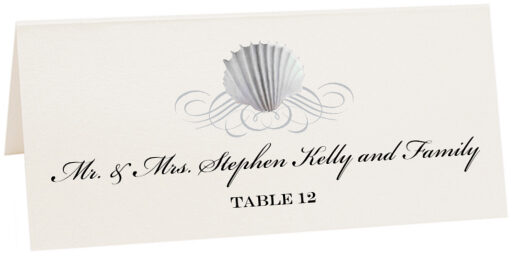 Photograph of Tented Seashell Scallop Swirl Place Cards