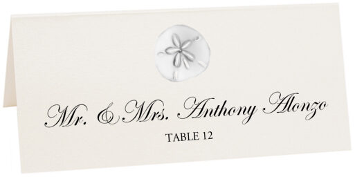 Photograph of Tented Silver Sand Dollar Place Cards