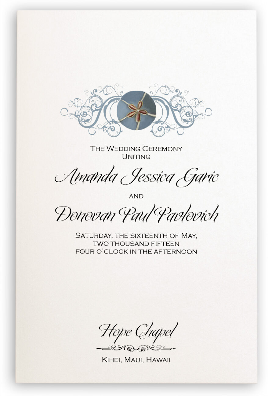 Photograph of Blue Sand Dollar Wedding Programs