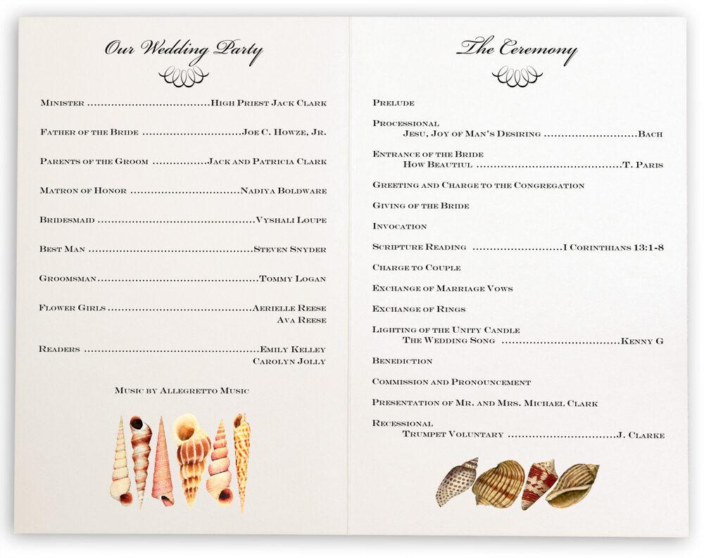 Photograph of Seashell Scallop Swirl Wedding Programs