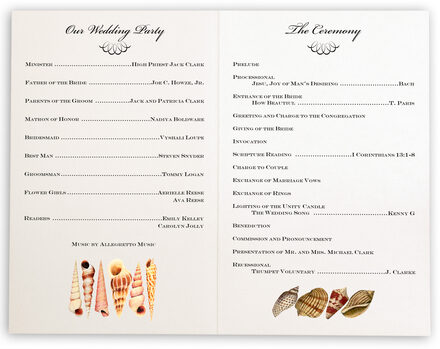 Photograph of Seashell Scallop Swirl Wedding Programs