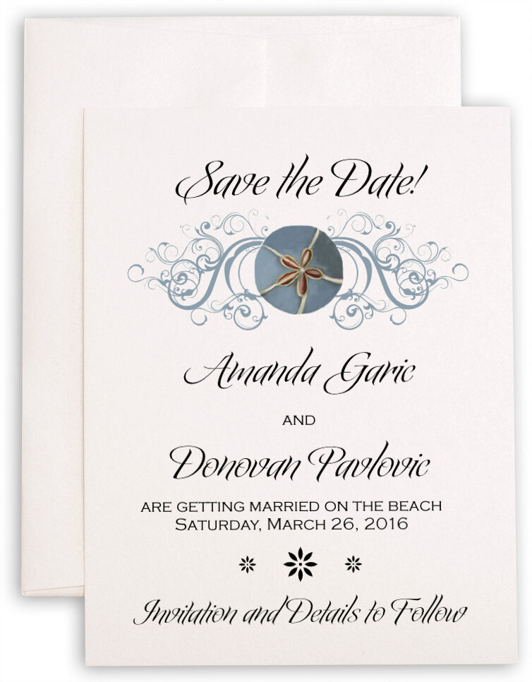 Photograph of Blue Sand Dollar Save the Dates