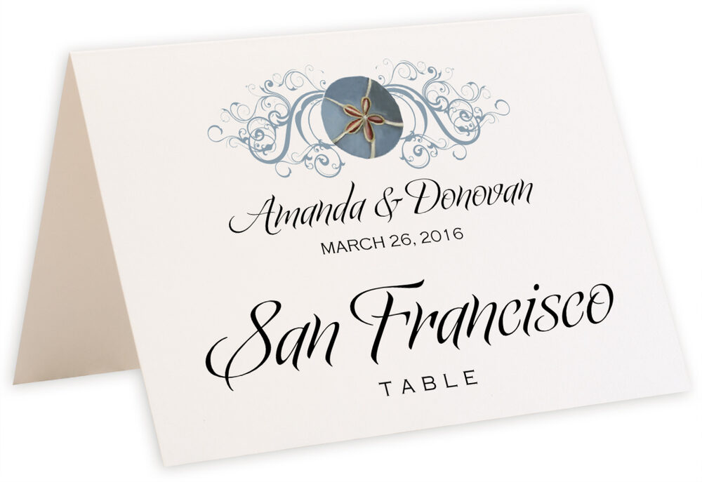 Photograph of Tented Blue Sand Dollar Table Names