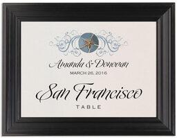 Framed Photograph of Blue Sand Dollar Table Names