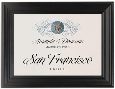 Framed Photograph of Blue Sand Dollar Table Names