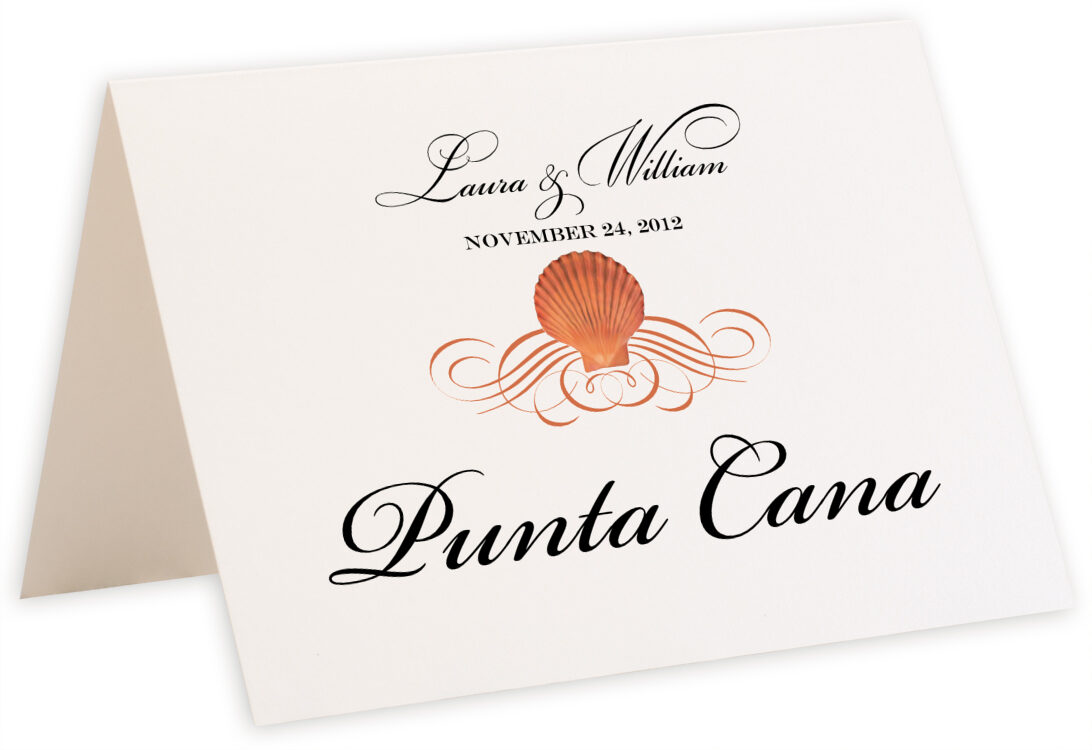 Photograph of Tented Seashell Scallop Swirl Table Names