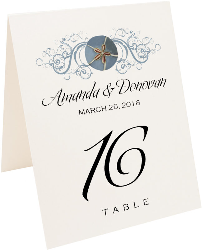 Photograph of Tented Blue Sand Dollar Table Numbers