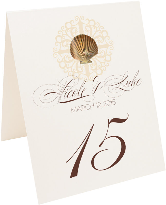Photograph of Tented Seashell Flourish 01 Table Numbers