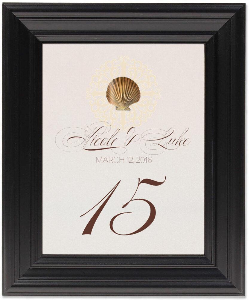 Framed Photograph of Seashell Flourish 01 Table Numbers