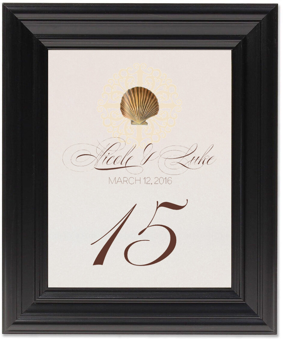 Framed Photograph of Seashell Flourish 01 Table Numbers