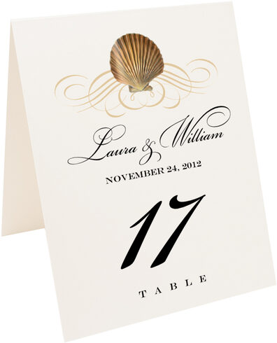 Photograph of Tented Seashell Scallop Swirl Table Numbers