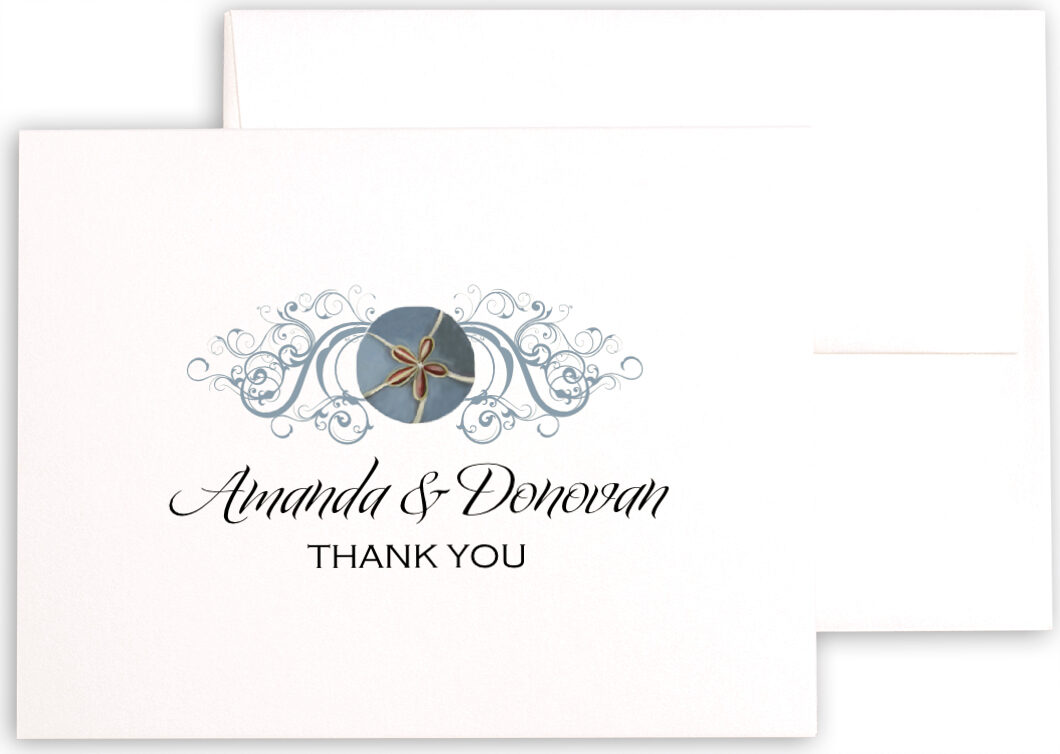 Photograph of Blue Sand Dollar Thank You Notes