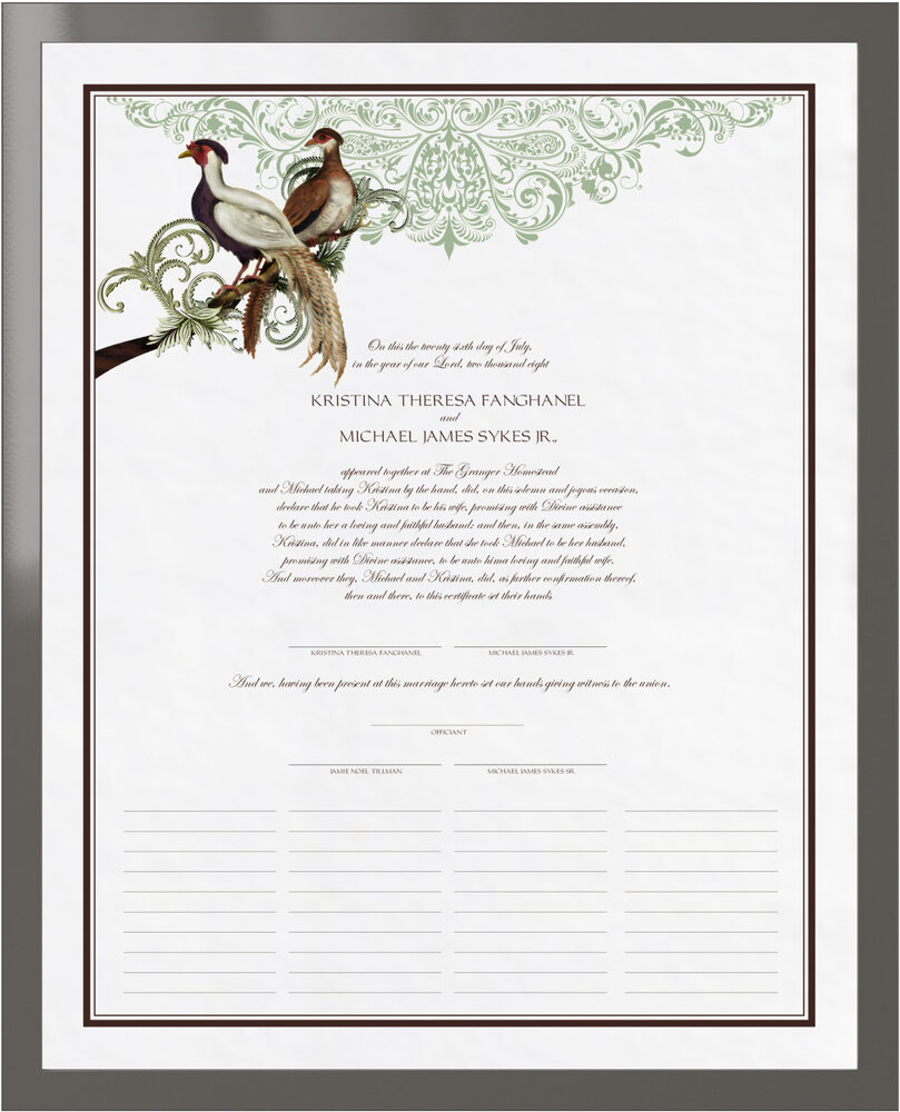 Photograph of Asian Peace Birds Wedding Certificates