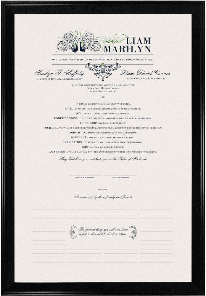 Photograph of Passionate Peacock 01 Wedding Certificates