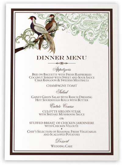 Photograph of Asian Peace Birds Wedding Menus