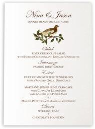 Photograph of Brown Birds Wedding Menus