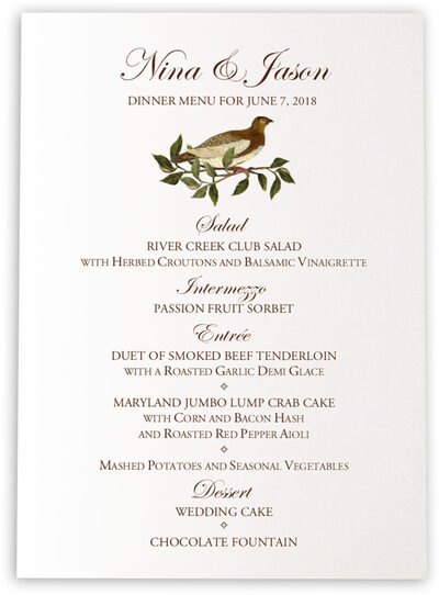 Photograph of Brown Birds Wedding Menus