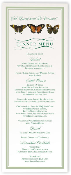 Photograph of Butterfly Ballet Wedding Menus