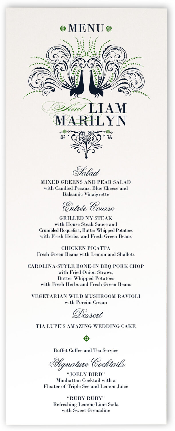 Photograph of Passionate Peacock Wedding Menus