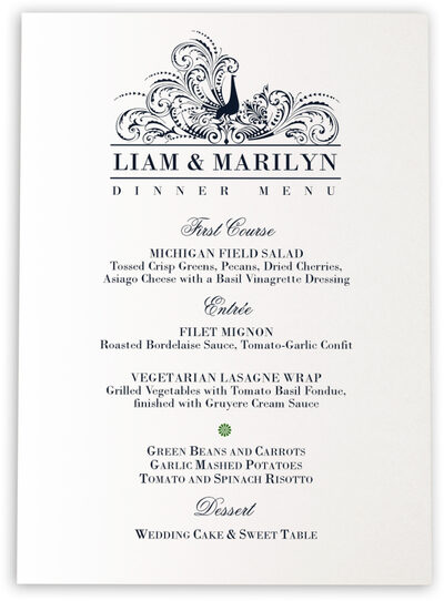 Photograph of Pompous Peacock Wedding Menus