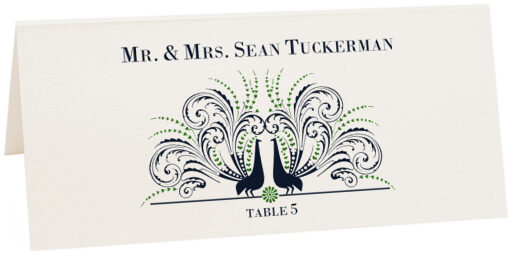 Photograph of Tented Passionate Peacock Place Cards