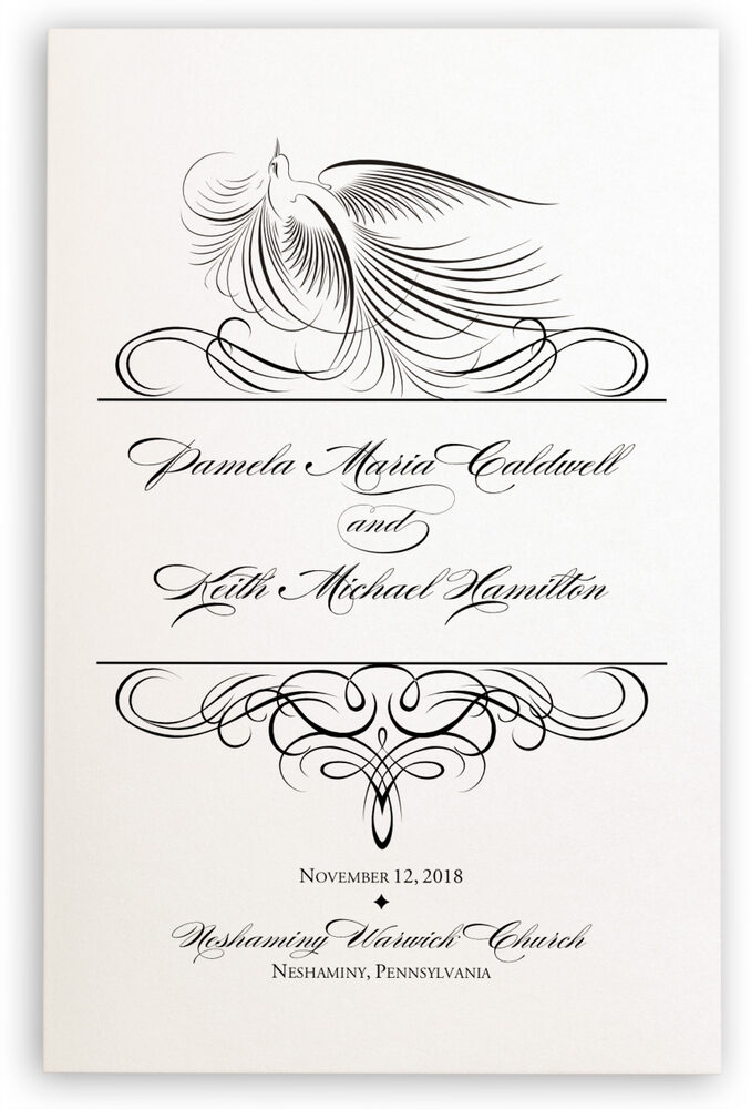 Photograph of Nighthawk Flourish Birds Wedding Programs