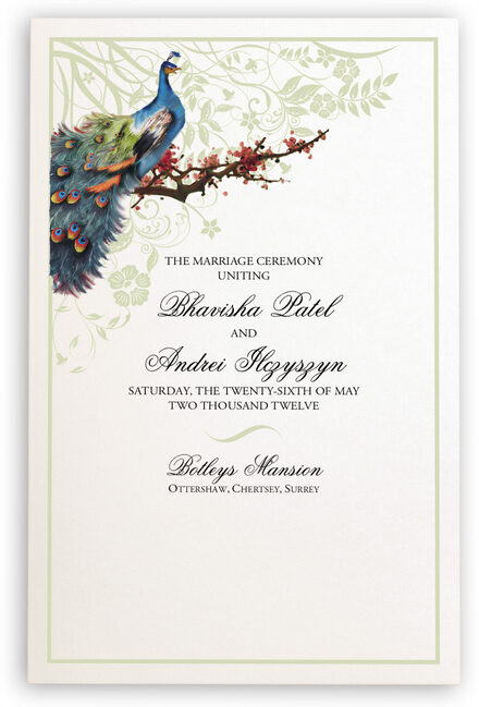 Photograph of Peacock in a Plum Tree Wedding Programs