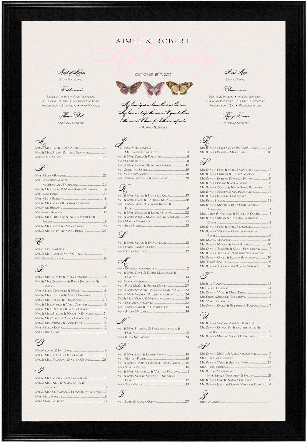 Photograph of Pink Pattern Butterflies Seating Charts