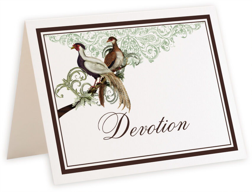 Photograph of Tented Asian Peace Birds Table Names