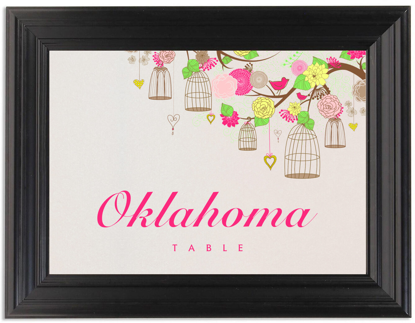 Framed Photograph of Bird Cages Table Names