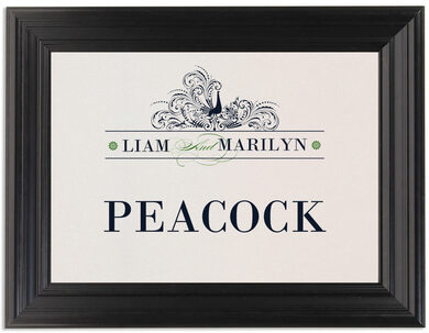 Framed Photograph of Pompous Peacock Table Names