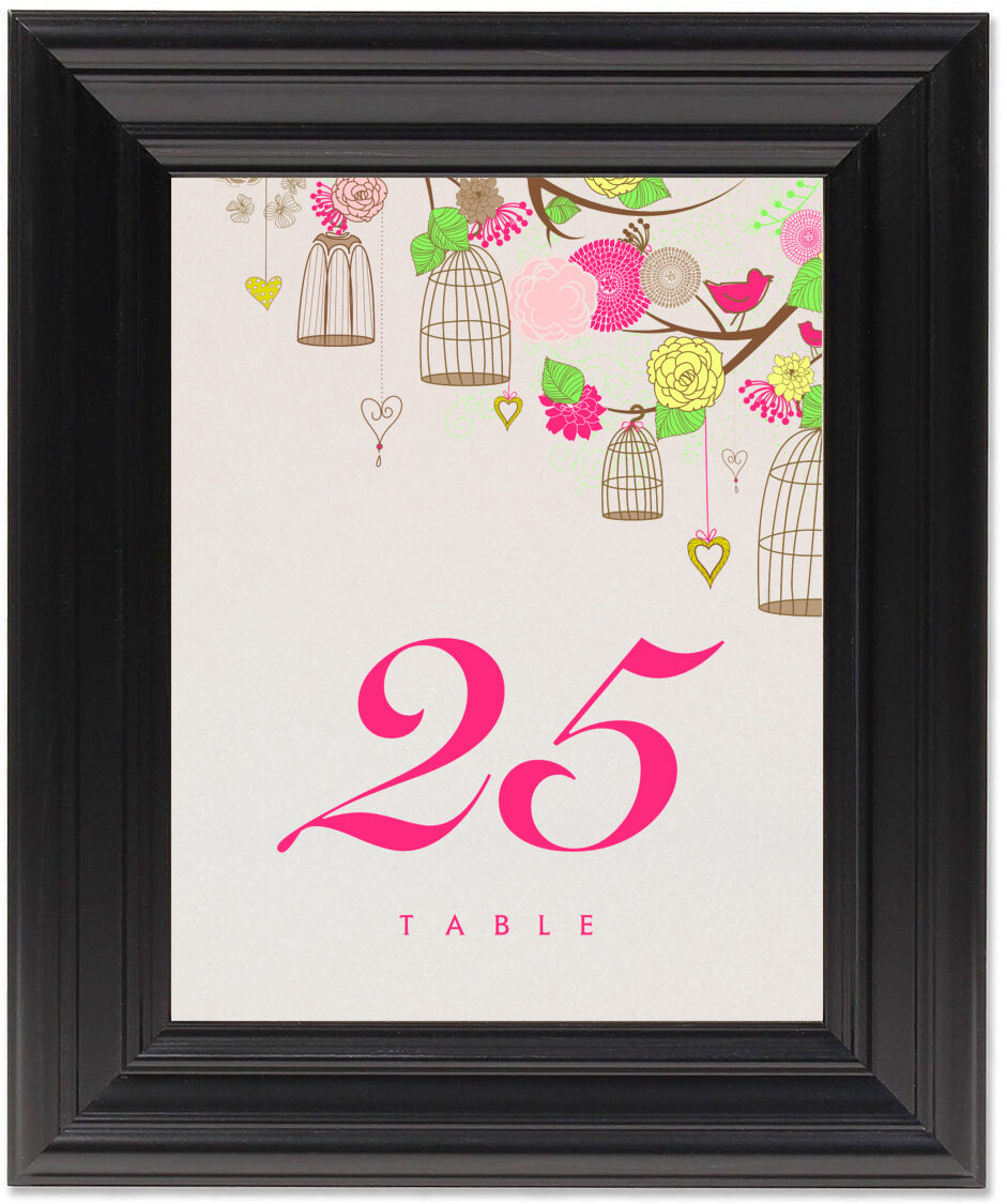 Framed Photograph of Bird Cages Table Numbers