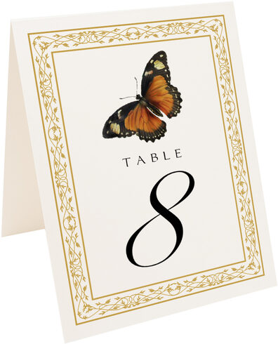 Photograph of Tented Monarch Butterfly Table Numbers