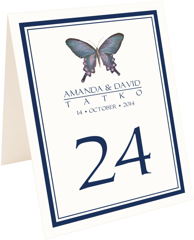 Photograph of Tented Painted Blue Butterfly Table Numbers
