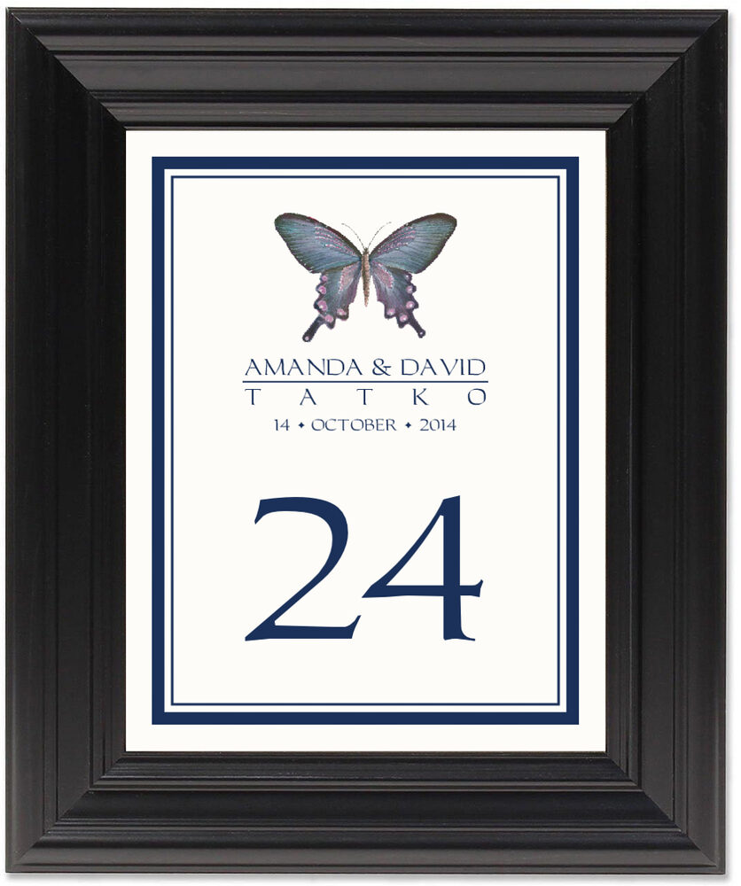 Framed Photograph of Painted Blue Butterfly Table Numbers
