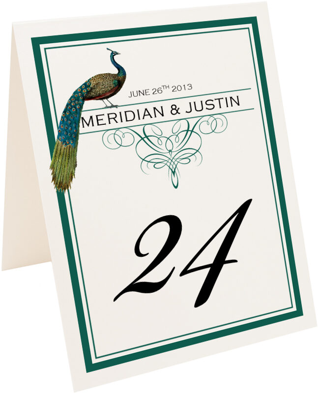 Photograph of Tented Peacock Flourish Monogram Table Numbers