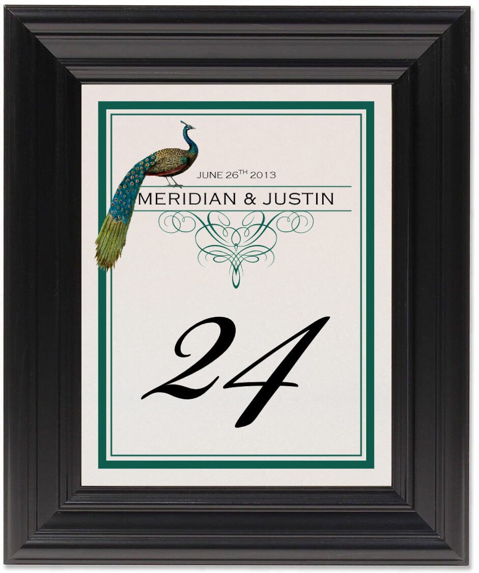 Framed Photograph of Peacock Flourish Monogram Table Numbers