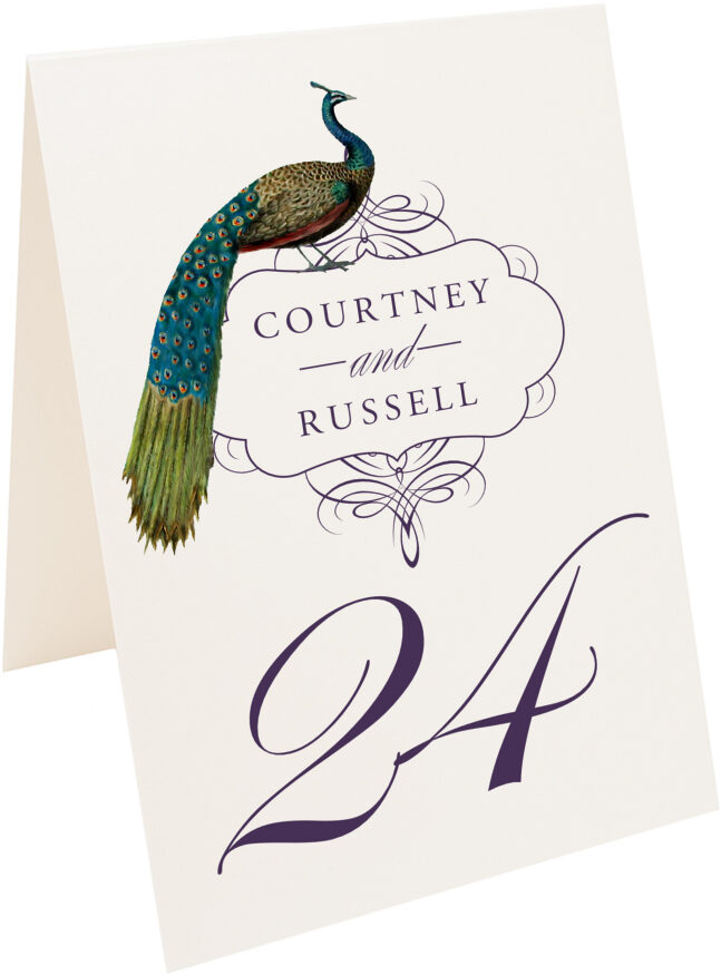 Photograph of Tented Peacock Flourish Swirl Table Numbers
