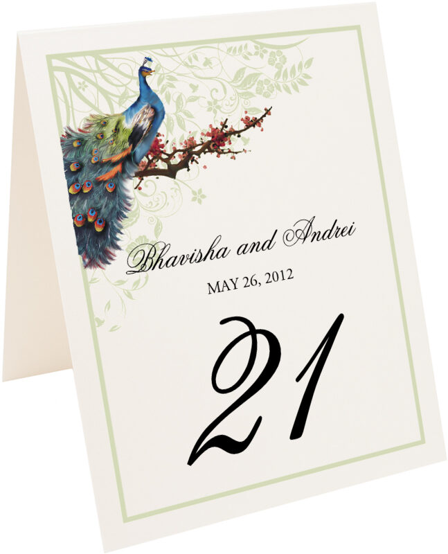 Photograph of Tented Peacock in a Plum Tree Flourish Table Numbers