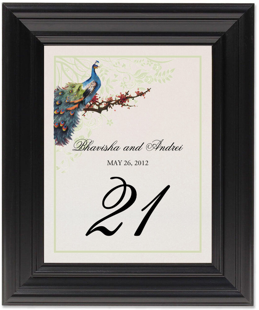 Framed Photograph of Peacock in a Plum Tree Flourish Table Numbers