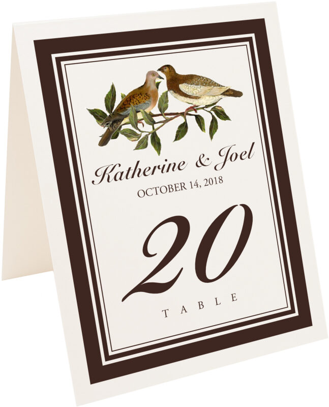 Photograph of Tented Two Brown Birds Table Numbers