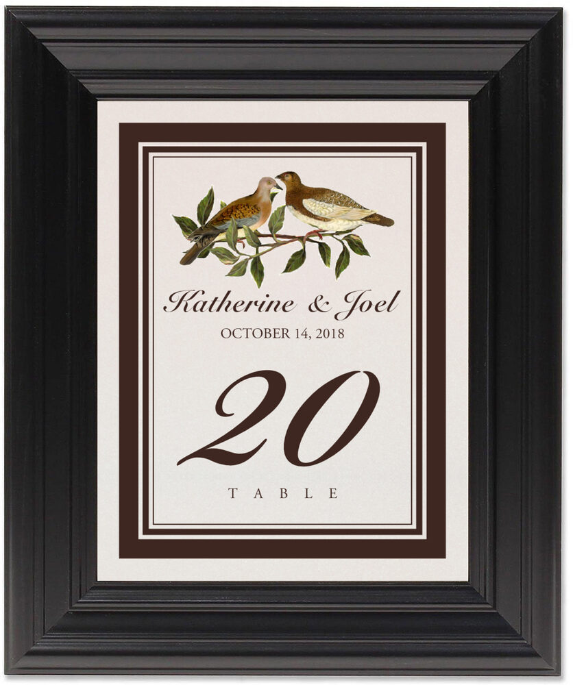 Framed Photograph of Two Brown Birds Table Numbers